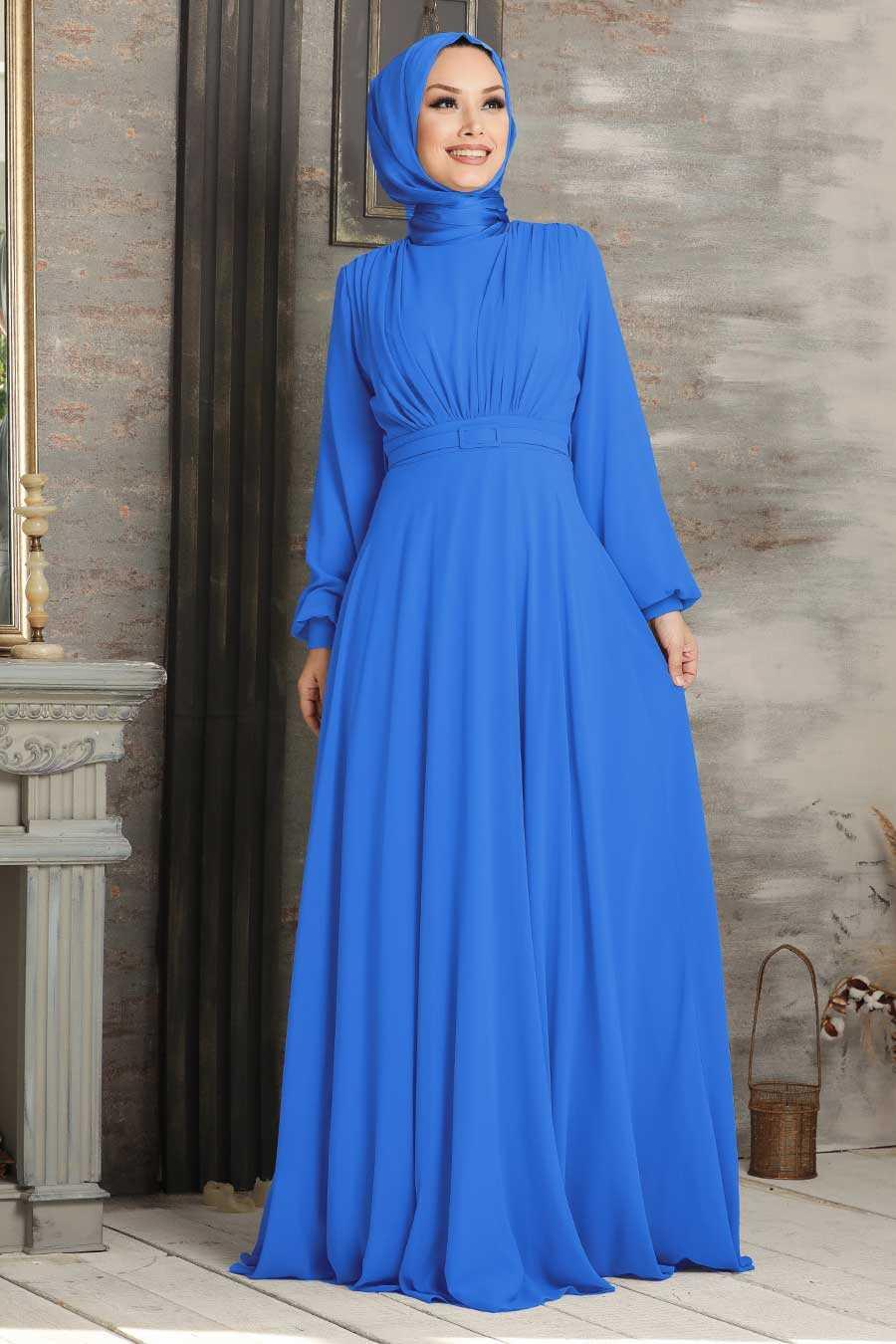 Sax Blue Hijab Evening Dress 5422SX