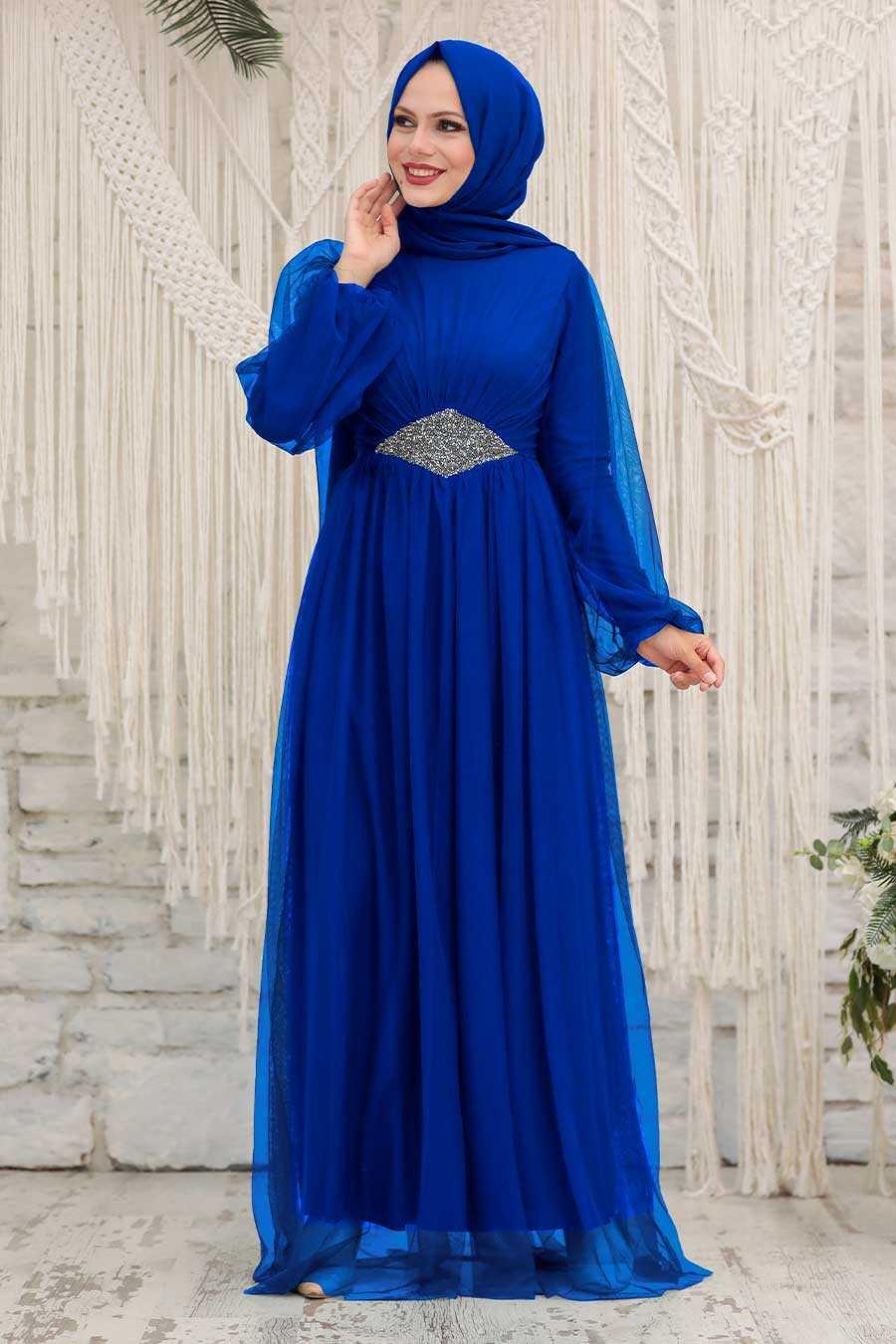 Sax Blue Hijab Evening Dress 54230SX
