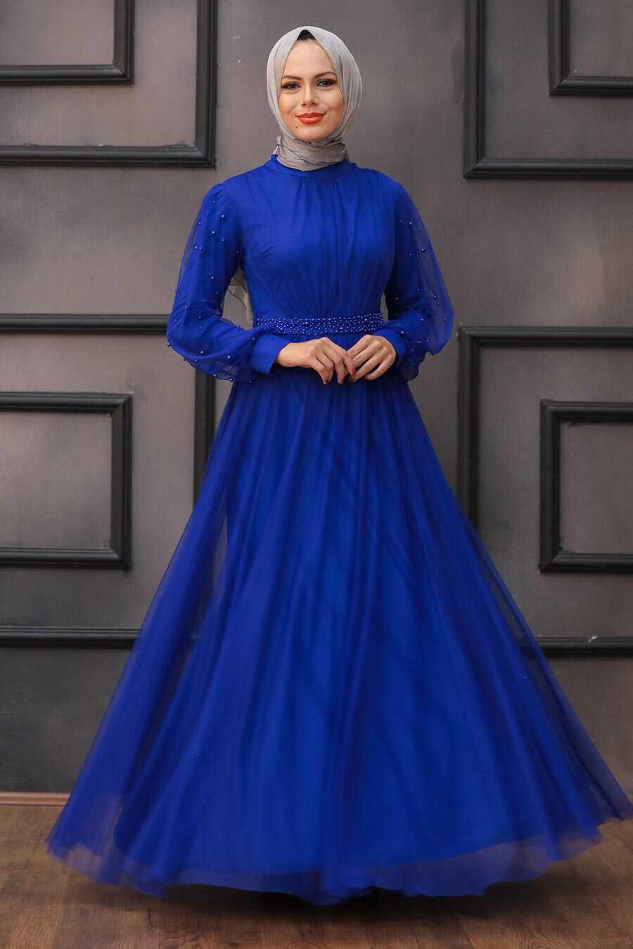 Sax Blue Hijab Evening Dress 5514SX