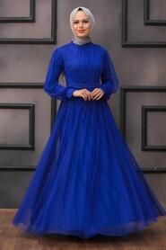 Sax Blue Hijab Evening Dress 5514SX - Thumbnail