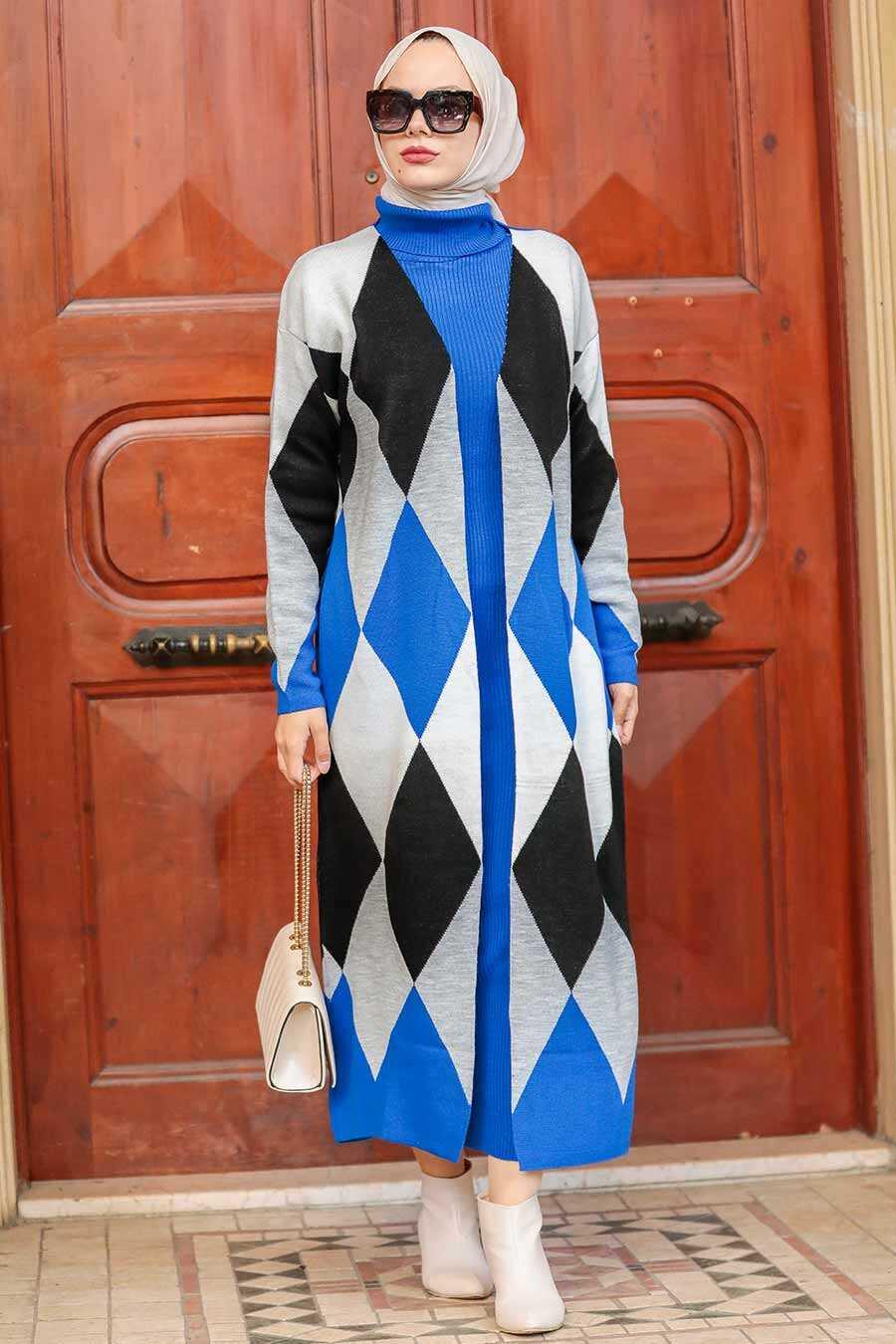 Sax Blue Hijab Knitwear Suit Dress 3181SX
