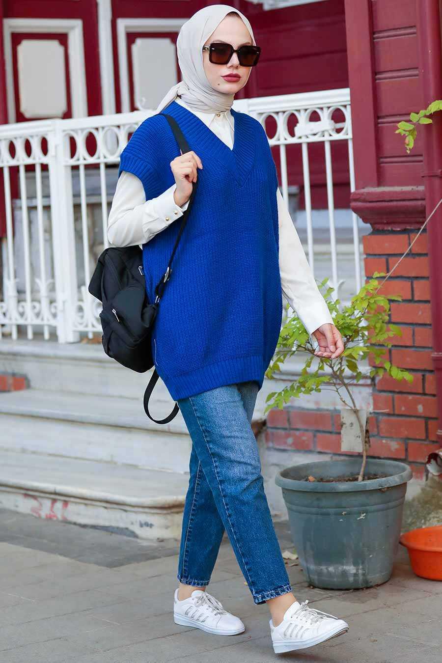 Sax Blue Hijab Knitwear Sweater 7836SX