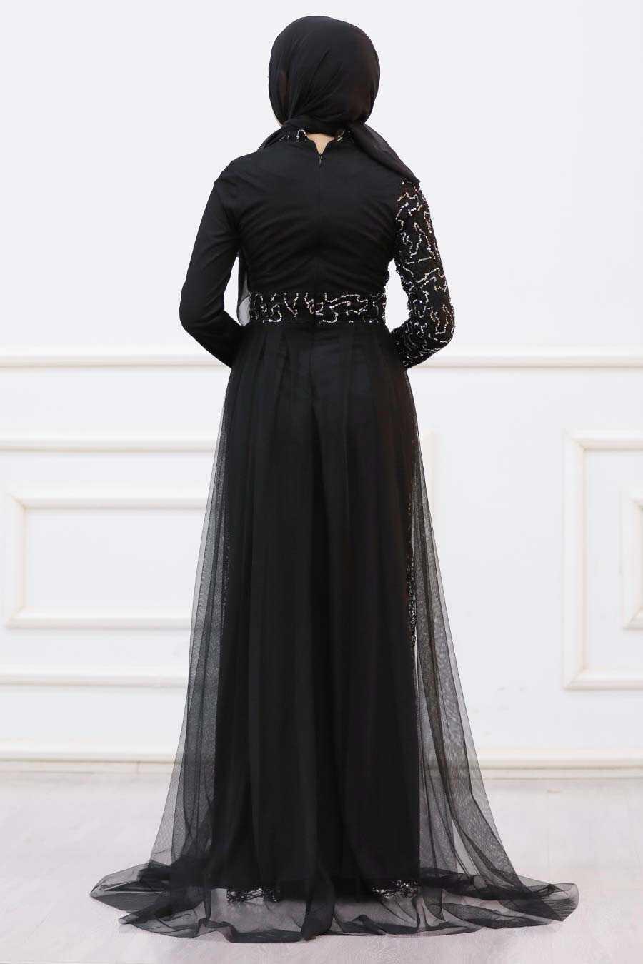 Silver Hijab Evening Dress 5345GMS