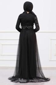 Silver Hijab Evening Dress 5345GMS - Thumbnail