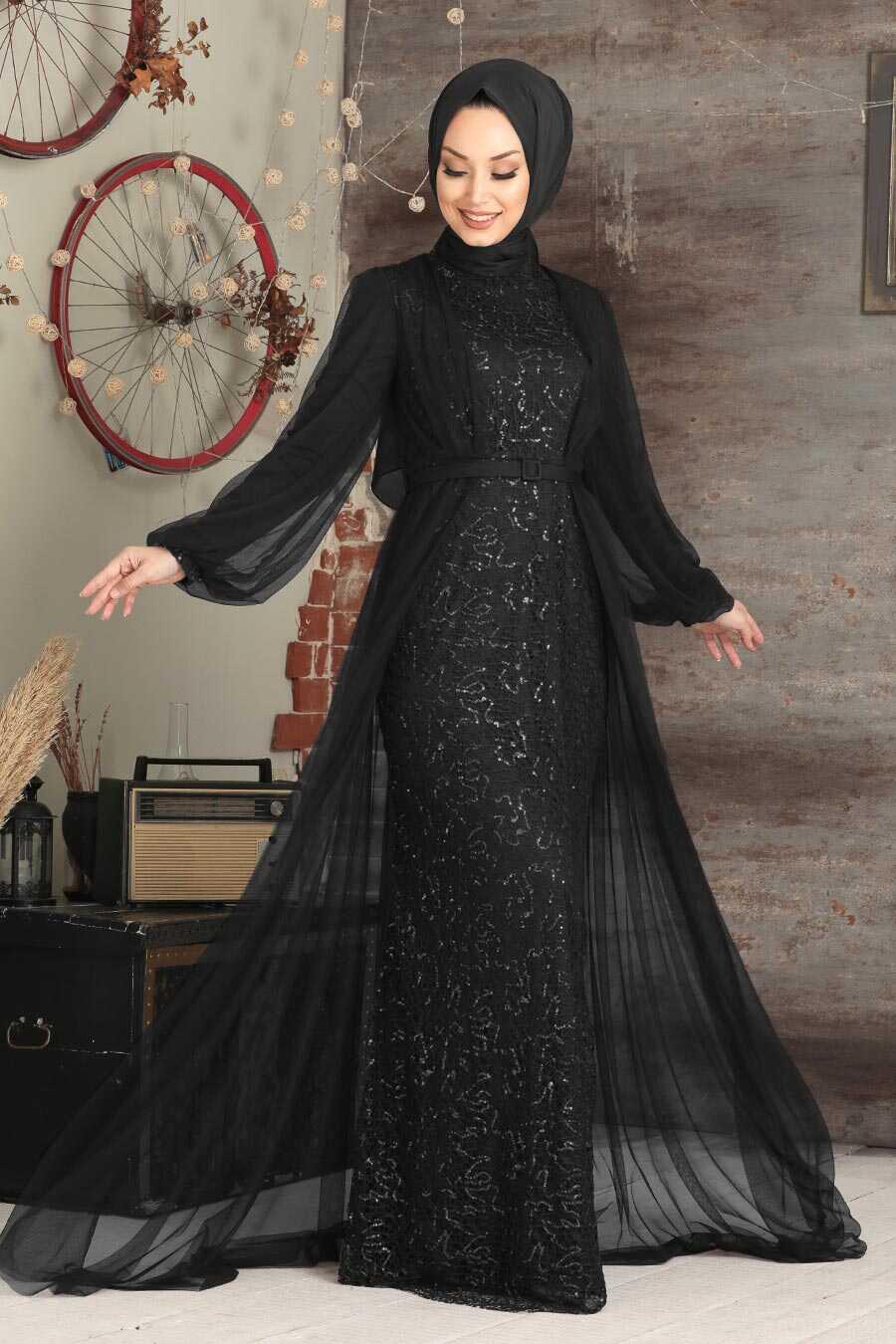 Silver Hijab Evening Dress 5383GMS
