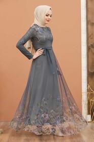 Smoke Color Evening Dress 50171FU - Thumbnail