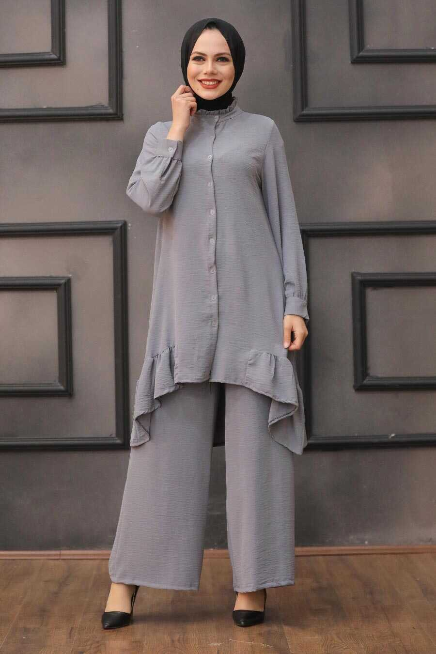 Smoke Color Hijab Dual Suit Dress 2428FU