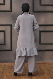 Smoke Color Hijab Dual Suit Dress 2428FU - Thumbnail
