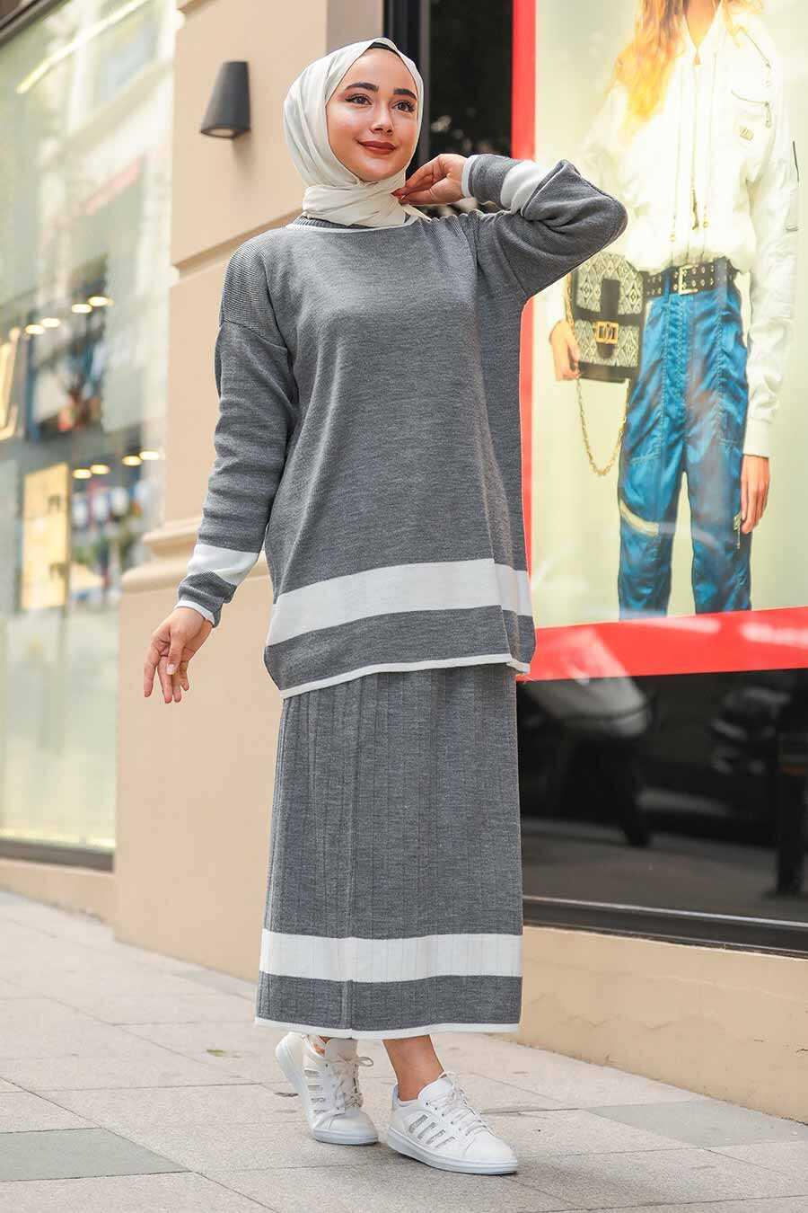 Smoke Color Hijab Dual Suit Dress 9681FU