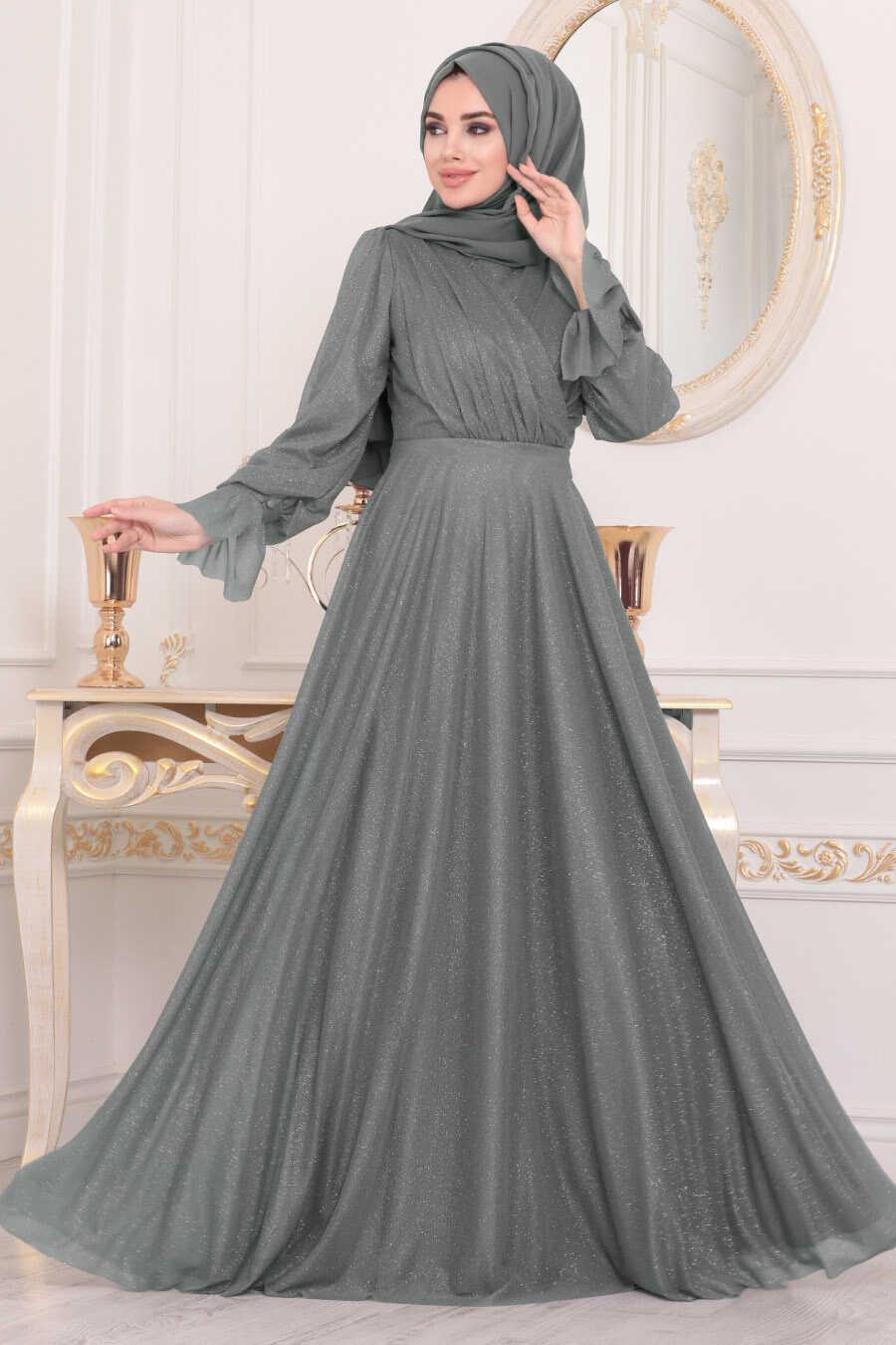 Smoke Color Hijab Evening Dress 22202FU
