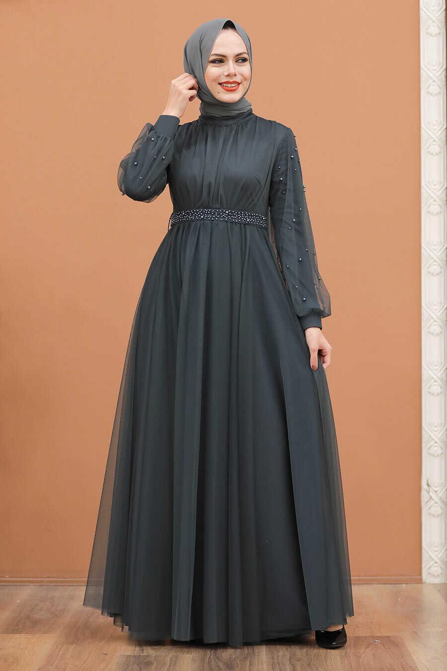 Smoke Color Hijab Evening Dress 5514FU
