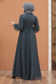 Smoke Color Hijab Evening Dress 5514FU - Thumbnail