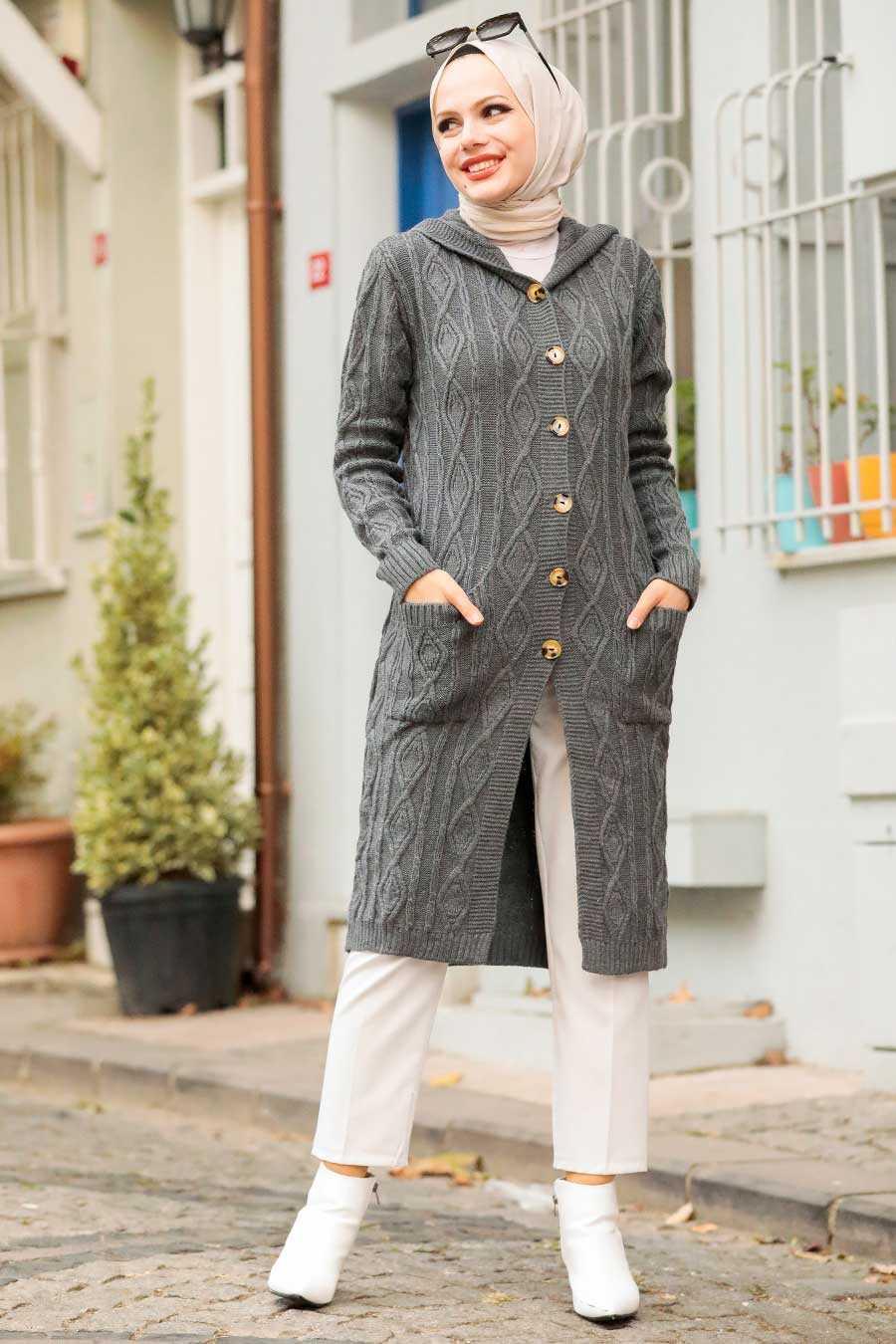 Smoke Color Hijab Knitwear Cardigan 4011FU