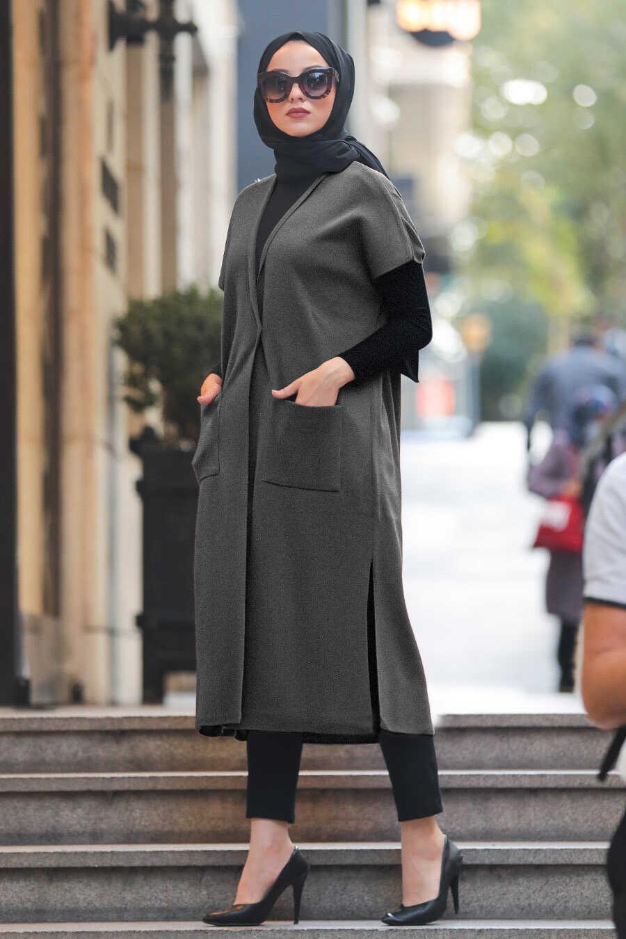 Smoke Color Hijab Knitwear Vest 21920FU
