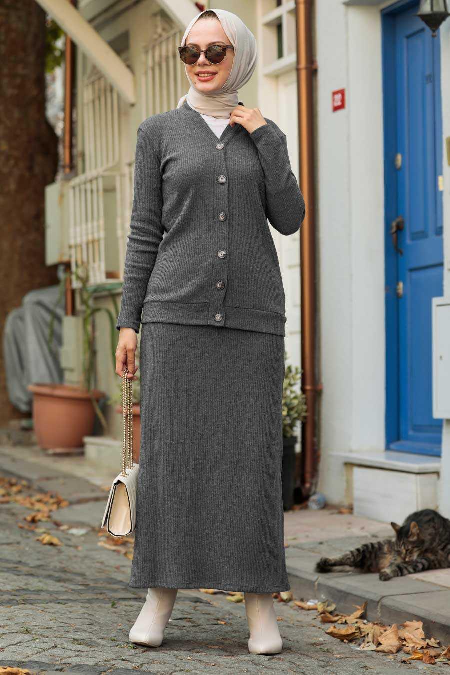 Smoke Color Hijab Suit Dress 1536FU