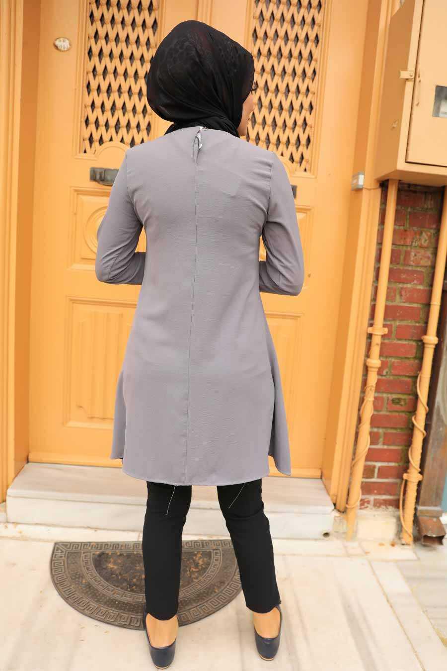 Smoke Color Hijab Tunic 5724FU
