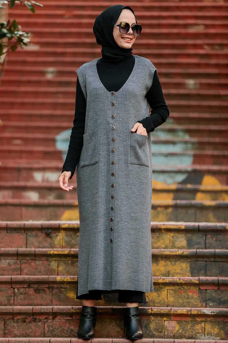 Smoked Color Hijab Knitwear Vest 3324FU