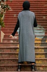 Smoked Color Hijab Knitwear Vest 3324FU - Thumbnail