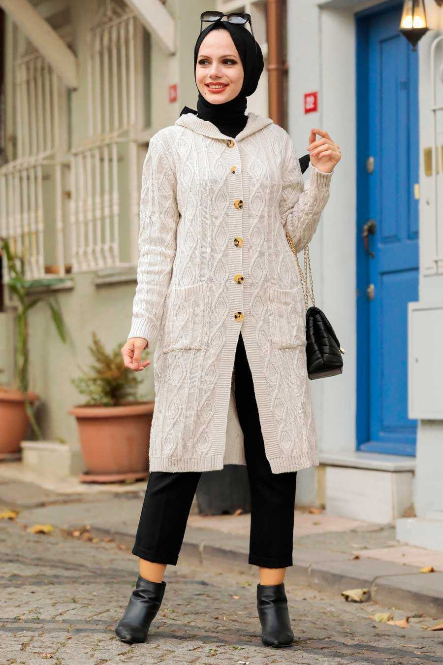 Stone Hijab Knitwear Cardigan 4011TAS