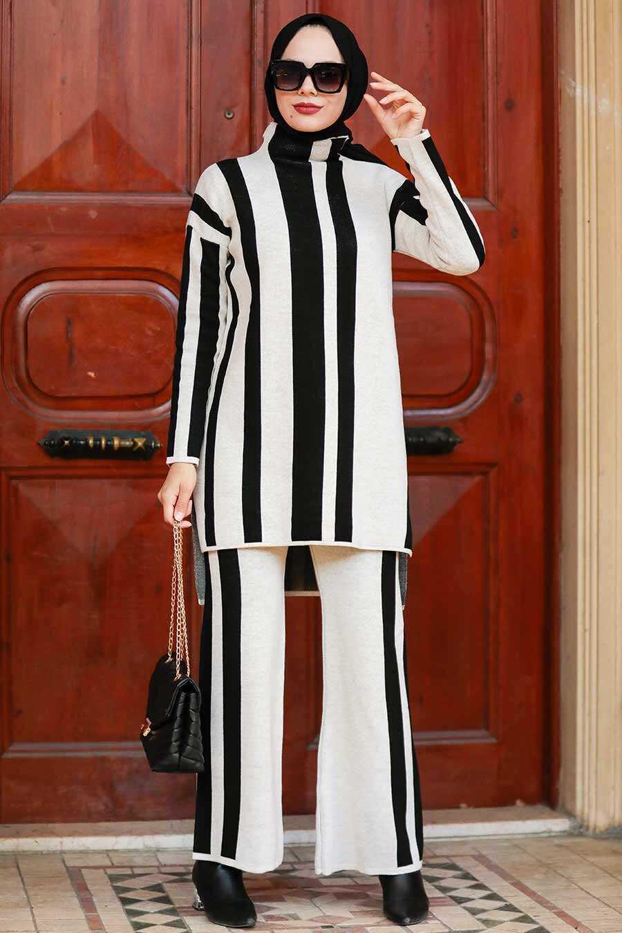 Stone Hijab Knitwear Suit Dress 3153TAS