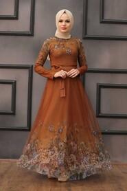 Sunuff Colored Evening Dress 50171TB - Thumbnail