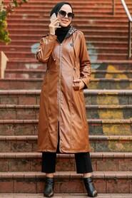 Sunuff Colored Hijab Coat 12050TB - Thumbnail