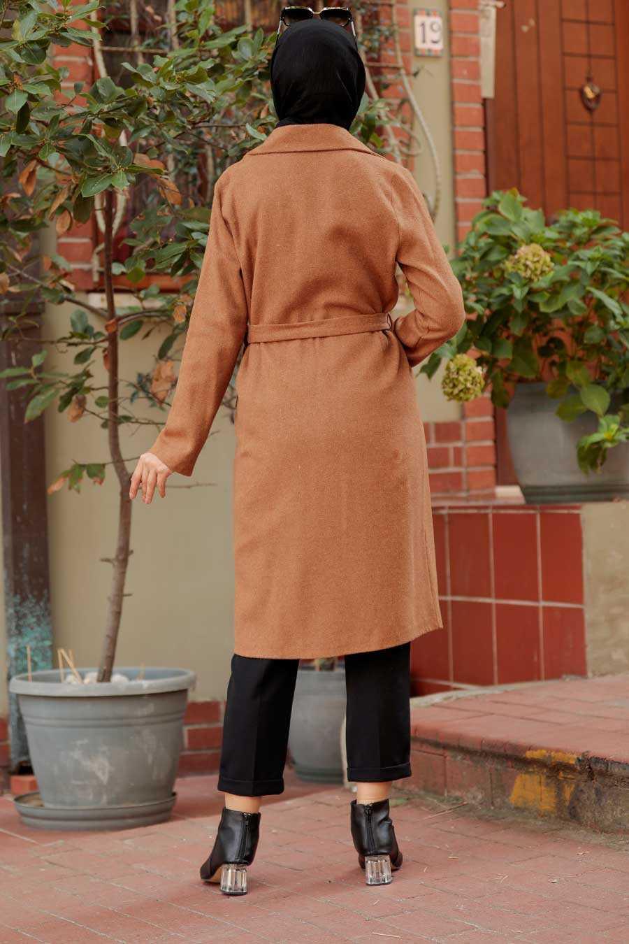 Sunuff Colored Hijab Coat 7013TB