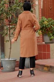 Sunuff Colored Hijab Coat 7013TB - Thumbnail