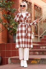 Sunuff Colored Hijab Coat 7038TB - Thumbnail