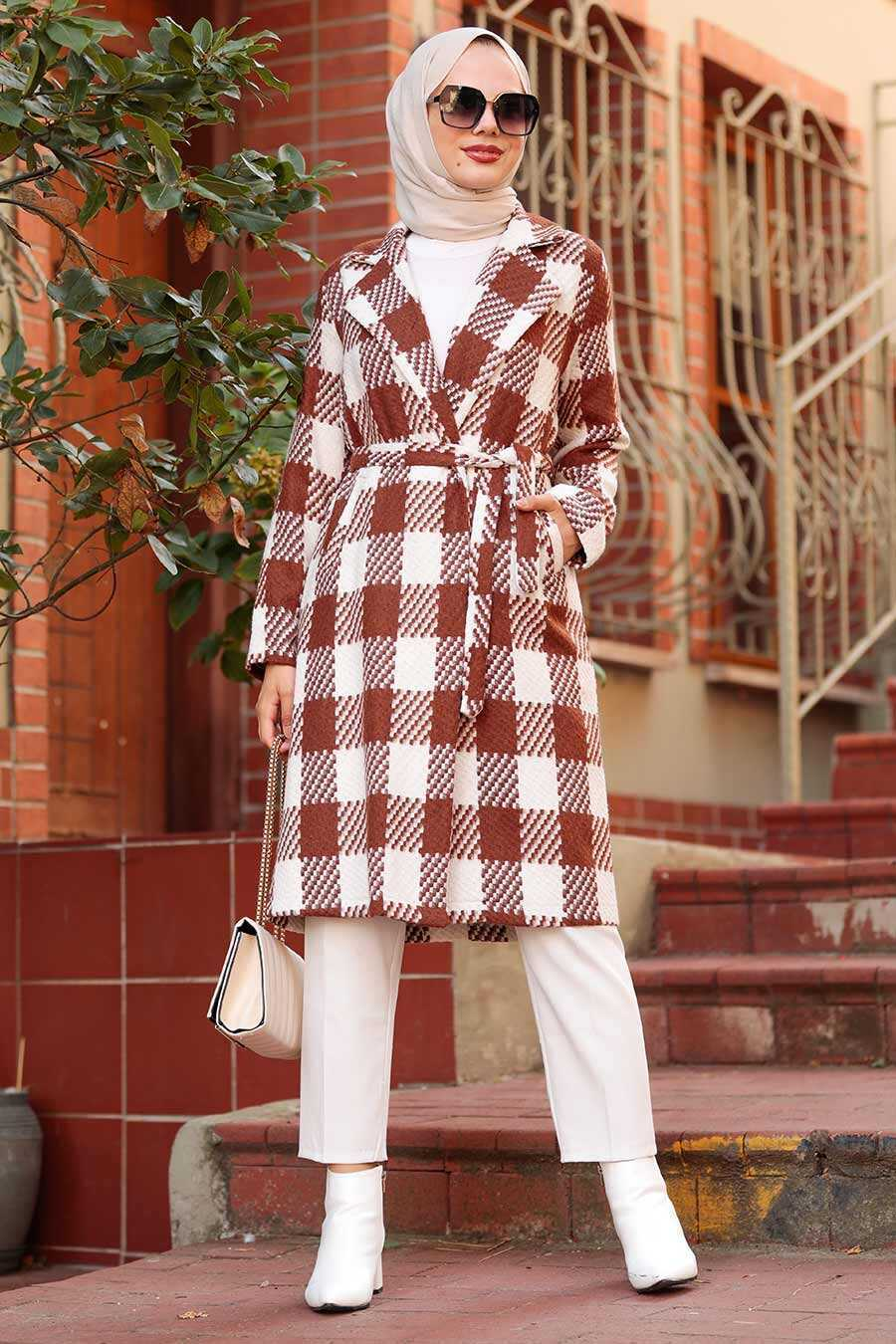 Sunuff Colored Hijab Coat 7038TB