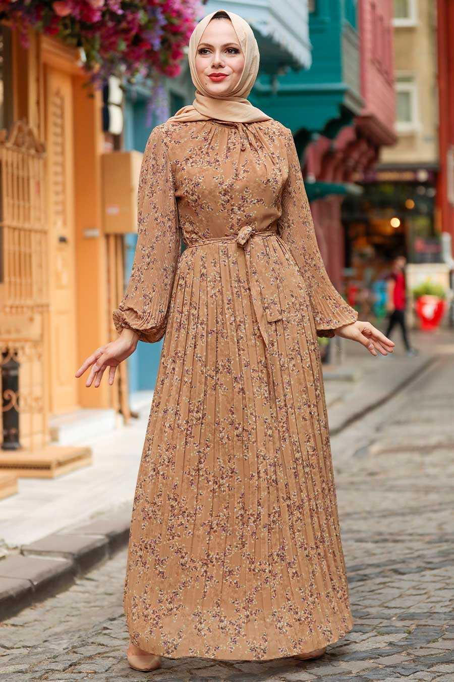 Sunuff Colored Hijab Dress 27890TB