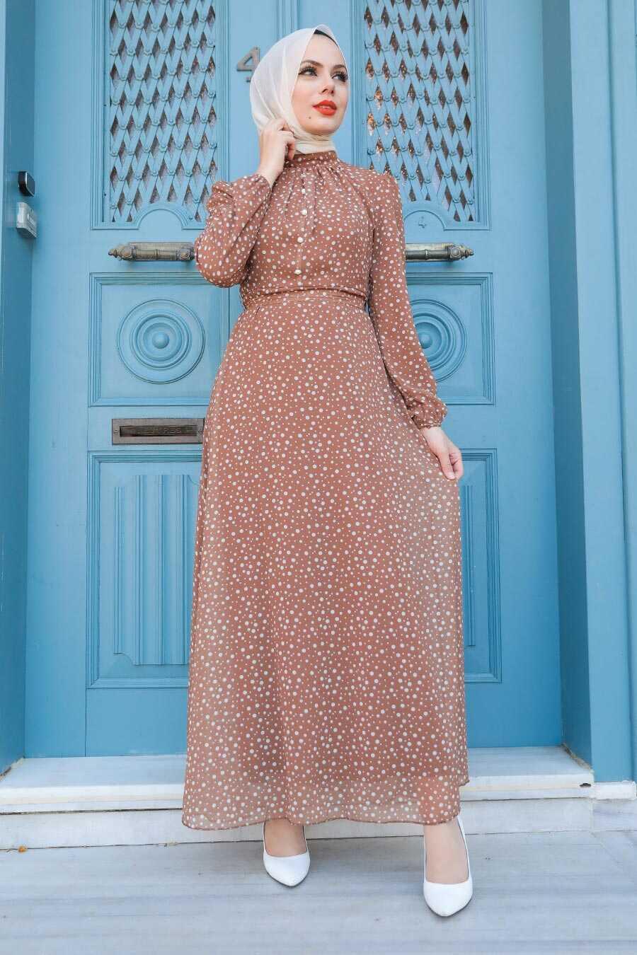 Sunuff Colored Hijab Dress 2809TB