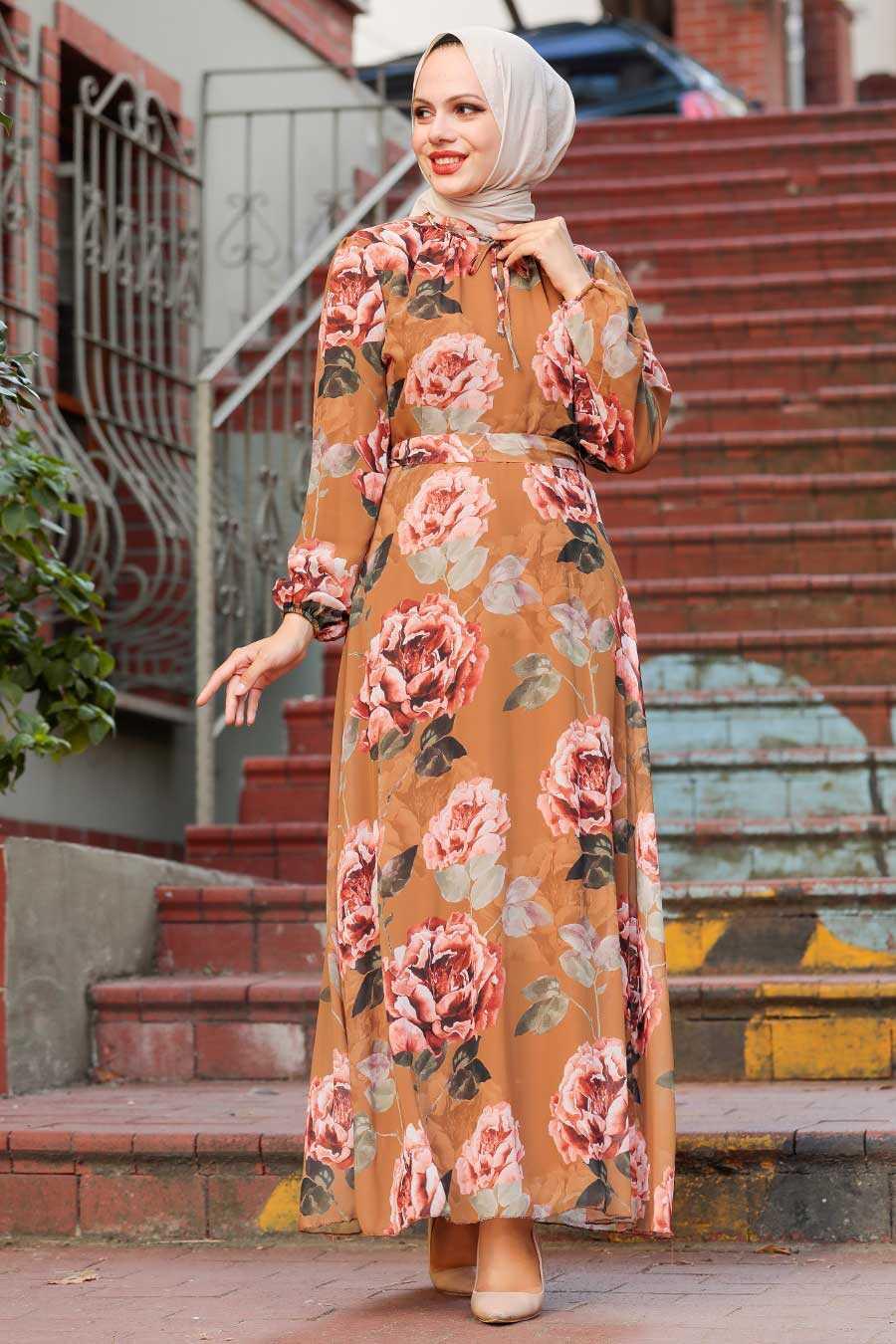 Sunuff Colored Hijab Dress 71020TB