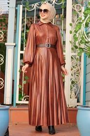 Sunuff Colored Hijab Dress 7630TB - Thumbnail