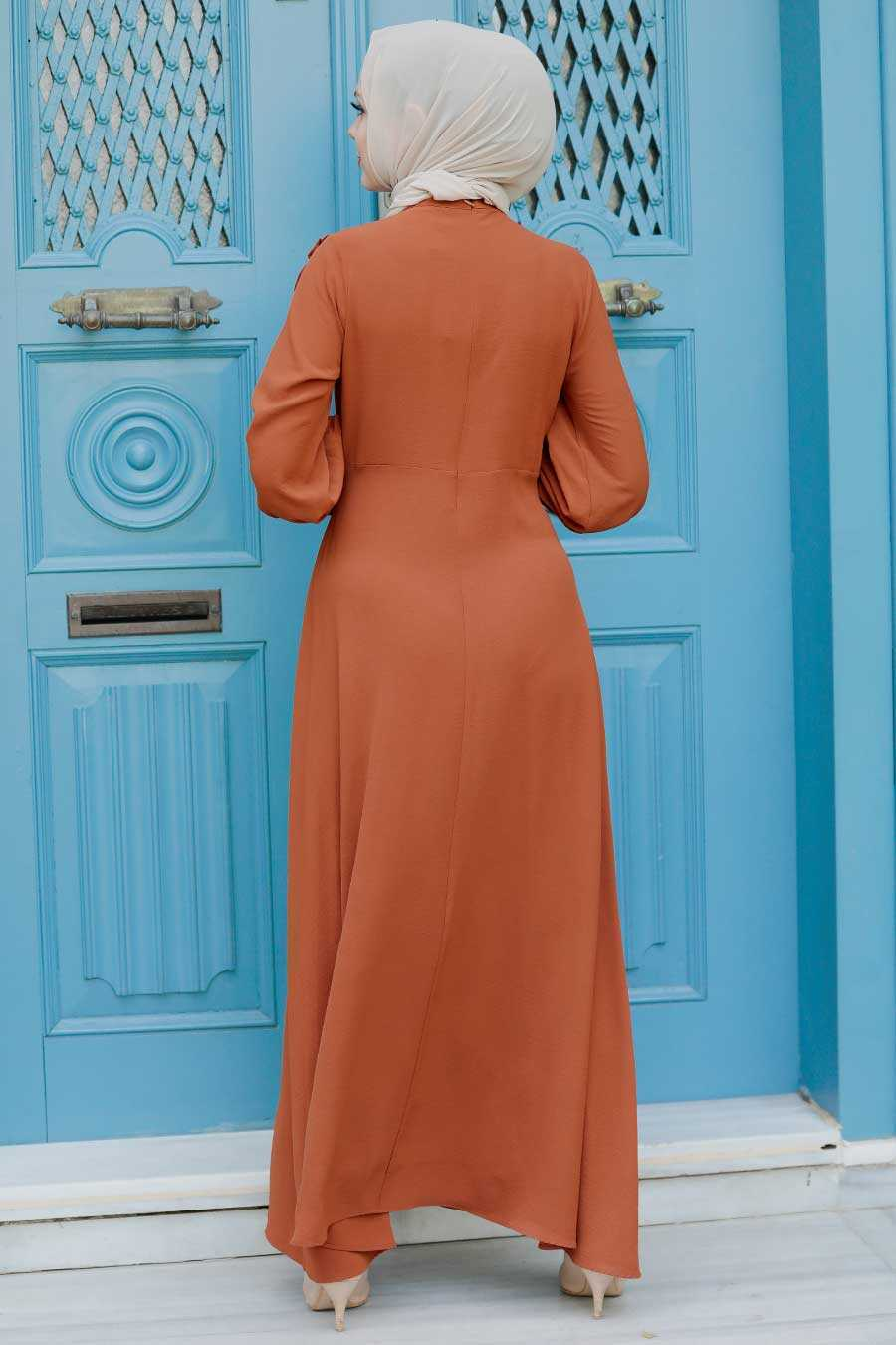 Sunuff Colored Hijab Dress 76480TB