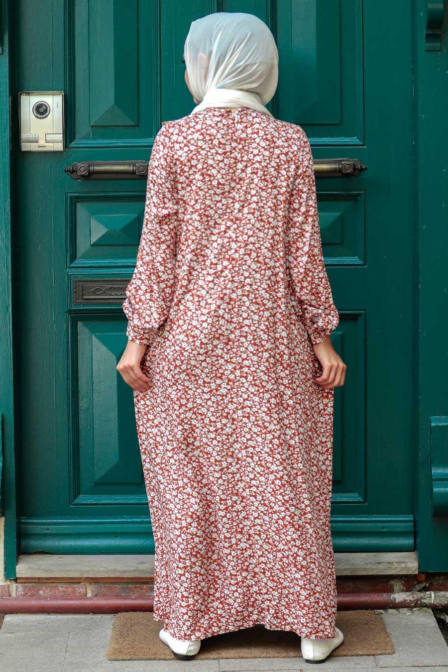 Sunuff Colored Hijab Dress 7660TB