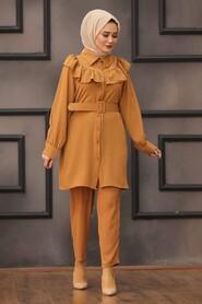 Sunuff Colored Hijab Dual Suit Dress 14701TB - Thumbnail