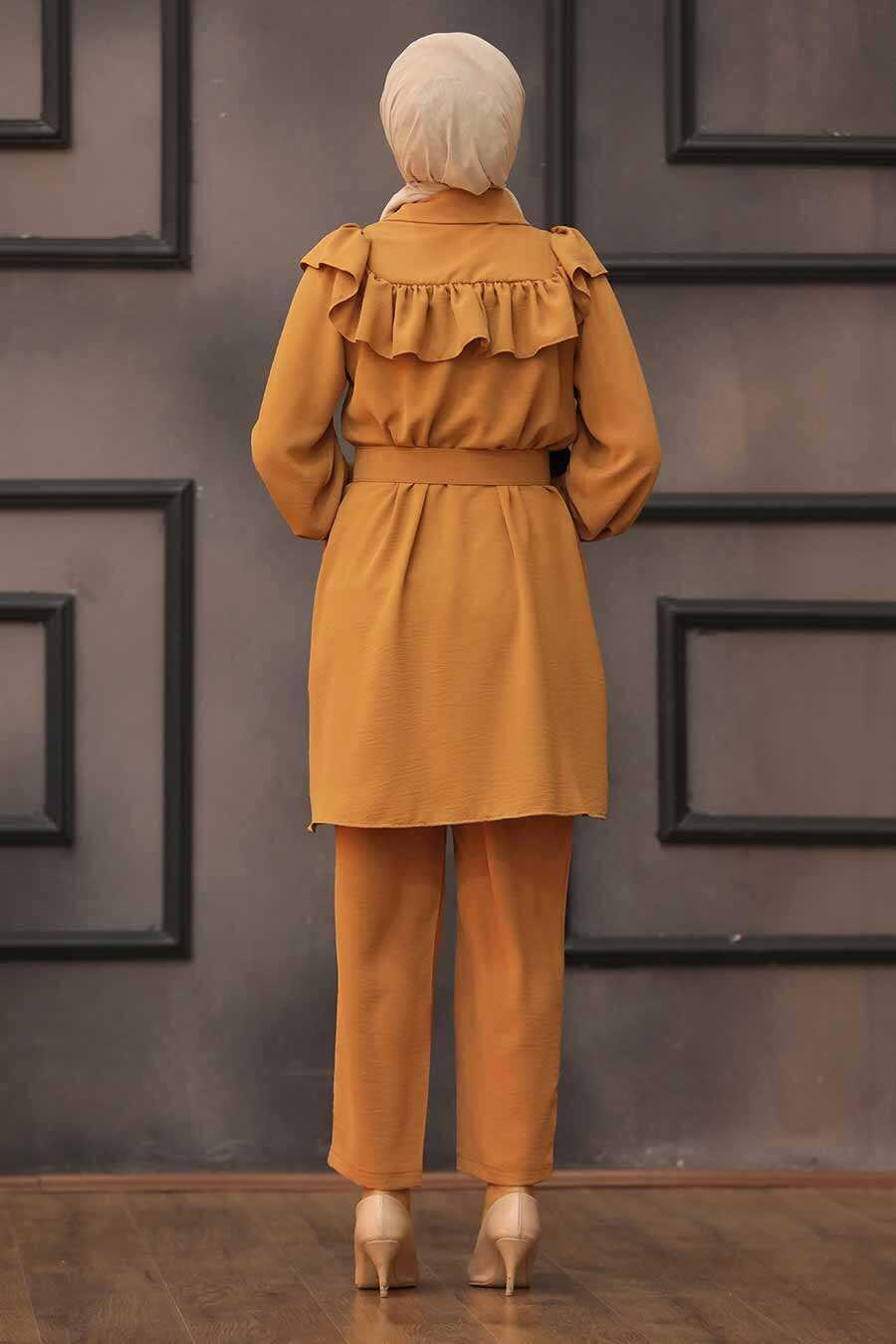Sunuff Colored Hijab Dual Suit Dress 14701TB