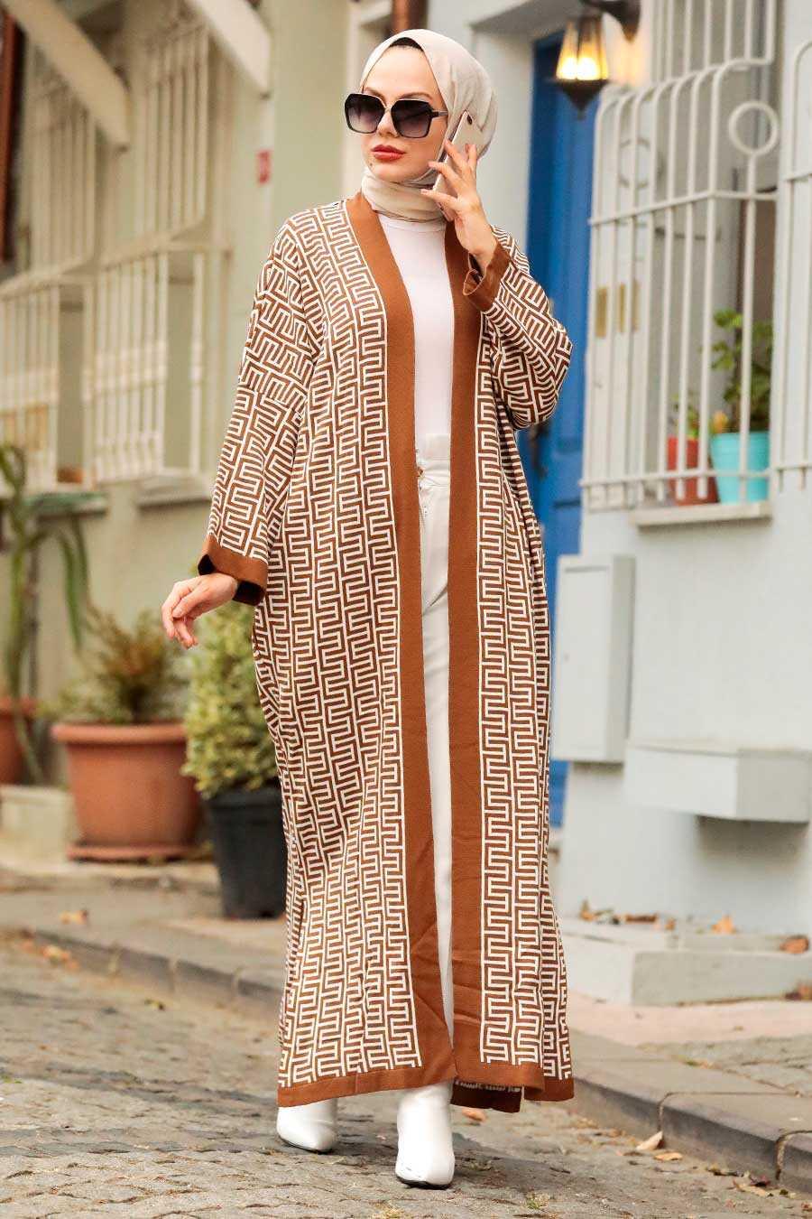 Sunuff Colored Hijab Knitwear Cardigan 3032TB