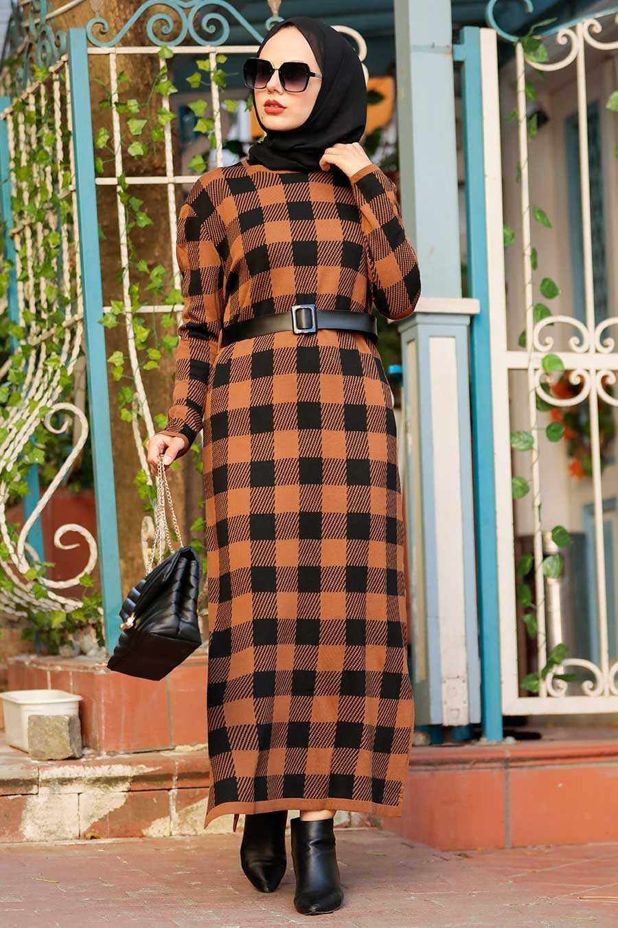 Sunuff Colored Hijab Knitwear Dress 3048TB