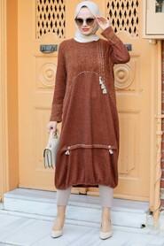 Sunuff Colored Hijab Knitwear Tunic 30641TB - Thumbnail