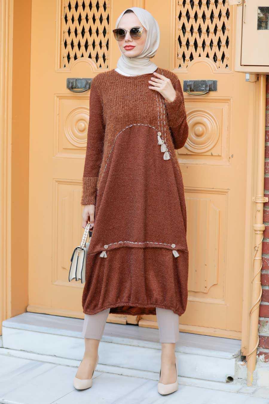 Sunuff Colored Hijab Knitwear Tunic 30641TB