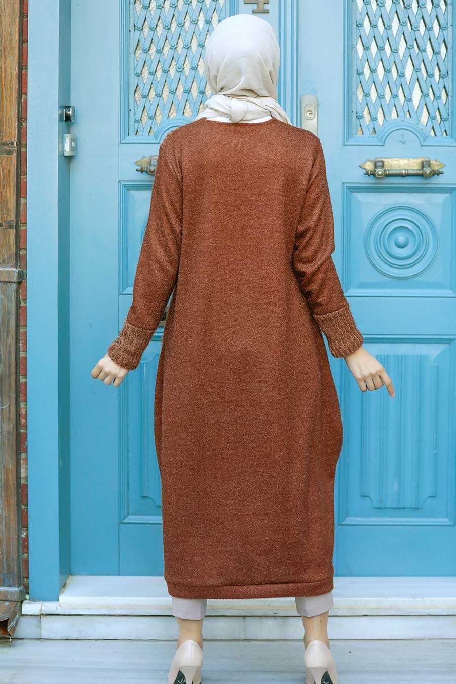 Sunuff Colored Hijab Knitwear Tunic 30690TB