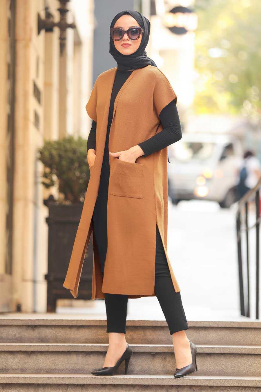 Sunuff Colored Hijab Knitwear Vest 21920TB