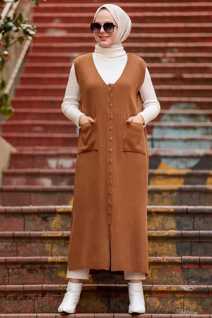 Sunuff Colored Hijab Knitwear Vest 3324TB