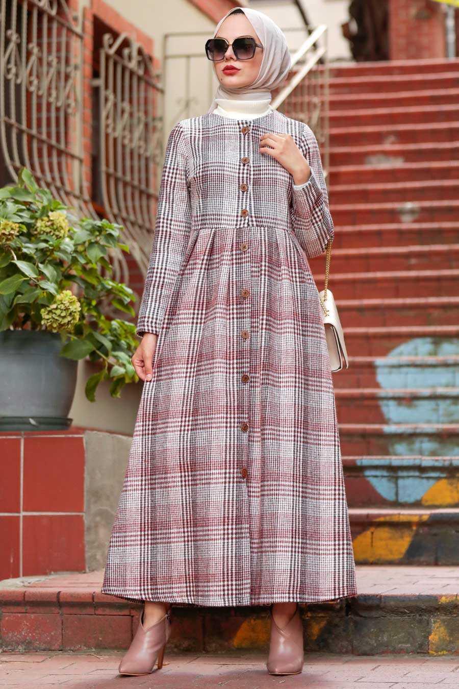 Terra Cotta Hijab Coat 8941KRMT