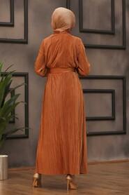 Terra Cotta Hijab Dress 12151KRMT - Thumbnail
