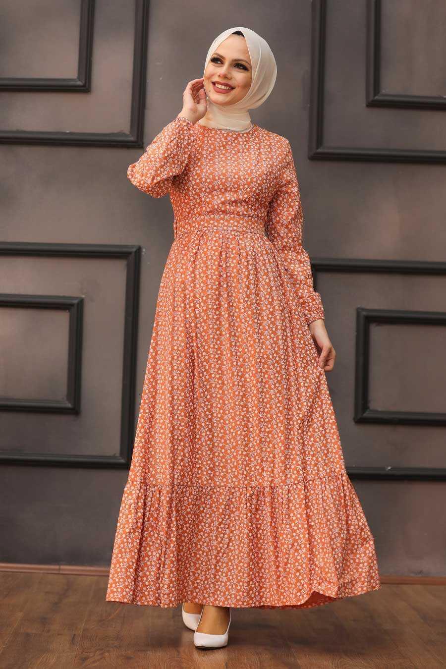 Terra Cotta Hijab Dress 28480KRMT