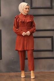 Terra Cotta Hijab Dual Suit Dress 14701KRMT - Thumbnail