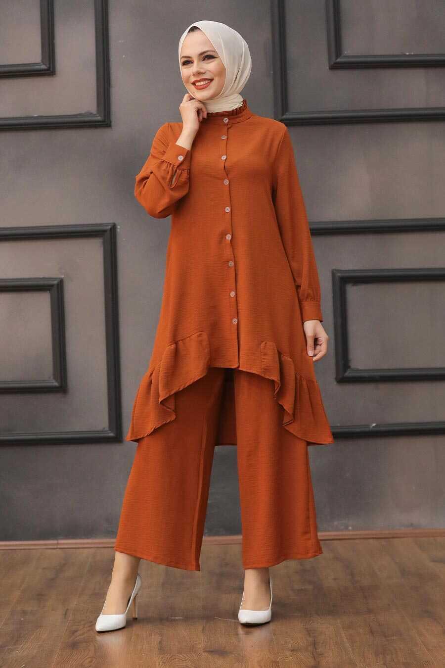 Terra Cotta Hijab Dual Suit Dress 2428KRMT
